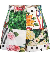 poplin patchwork shorts