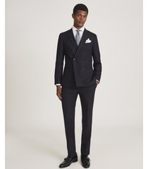 reiss hop - double breasted hopsack blazer in navy, mens, size 46