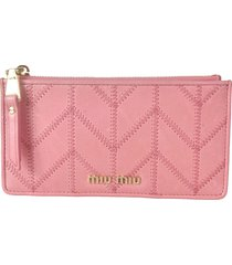 miu miu stitch detail logo card holder