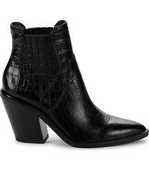 sabana croc-embossed leather western booties