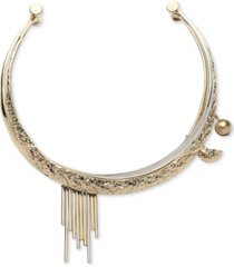 """givenchy two-tone bead & bar hammered 15"""" collar necklace"""