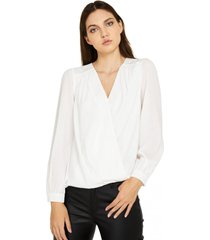 blusa básica pliegues blanco nicopoly