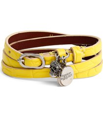 alexander mcqueen pave skull charm croc embossed leather wrap bracelet in pop yellow at nordstrom