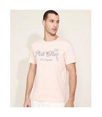 """camiseta masculina polo club"""" manga curta gola careca rosa"""""""