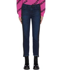 'ruby' contrast outseam cigarette frayed cuff cropped jeans