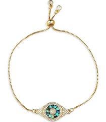 eye candy la women's luxe mother-of-pearl & crystal evil eye bracelet
