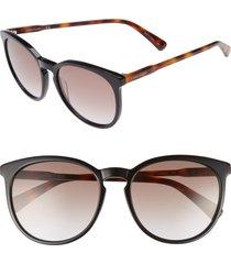 women's longchamp 56mm round sunglasses - black/ havana