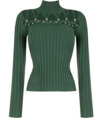 dion lee beaded braid skivvy top - green