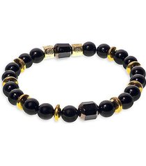 goldplated, sterling silver, onyx & mixed crystal beaded bracelet
