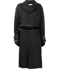 delada tie-waist pinstripe trench coat - black