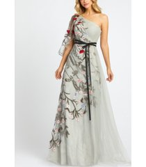 mac duggal embellished one-shoulder gown