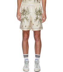 cannabis botanical print drawstring shorts