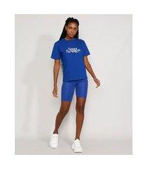 "t-shirt feminina mindset com bordado soul search"" manga curta decote redondo azul royal"""