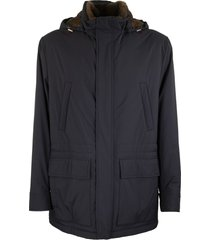 brunello cucinelli water-resistant matte nylon parka with detachable hood