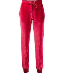 philipp plein teddy monogram velvet track pants - red