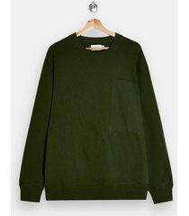 mens green woven pocket sweatshirt