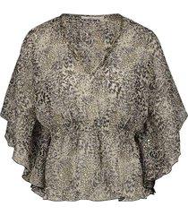 blouse met print bika  zwartwit