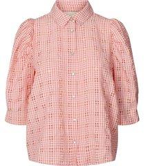 geruite blouse bono  roze