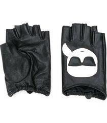 karl lagerfeld k/ikonik fingerless gloves - black