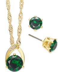 charter club gold-tone crystal pendant necklace & stud earrings set, created for macy's