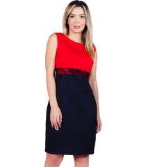 vestido de encaje rojo negro bellisima
