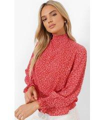 doorschijnende blouse met stippen en hoge hals, red