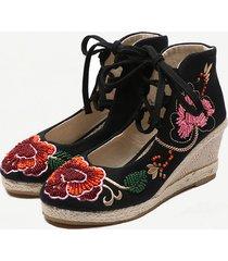 scarpe con zeppa in ricamo con strass