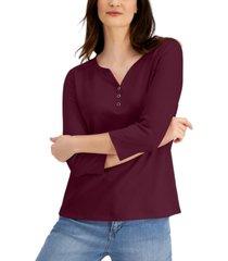 karen scott plus size 3/4-sleeve henley top, created for macy's