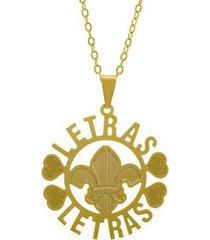 gargantilha horus import letras banhada ouro 18k feminina