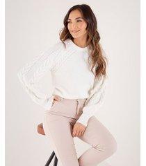suéter tejido para mujer crudo manga larga con punto combinado