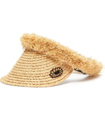 eye embroidered patch pearl embellished tassel straw visor