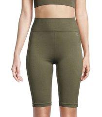 nine west women's high-waist seamless bike shorts - olive tree - size l/xl