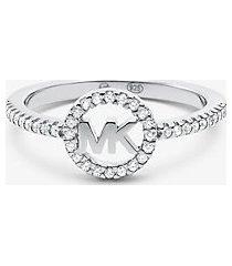 mk anello in argento sterling con placcatura in metallo prezioso e logo - argento (argento) - michael kors