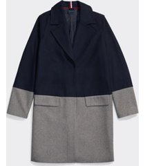tommy hilfiger women's adaptive colorblock wool coat masters navy/heather grey - l