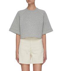 'aura' wide sleeve crop raglan t-shirt
