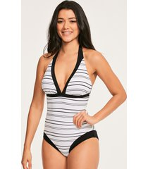amalfi stripe plunge textured tummy control one-piece swimsuit