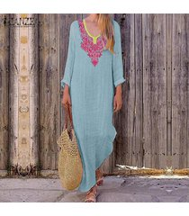 zanzea manga larga para mujer vacaciones en la playa vestido de las señoras de los vestidos maxi flojo ocasional -azul claro
