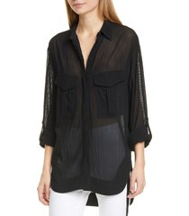 women's rag & bone florian sheer tunic shirt, size xx-small - black