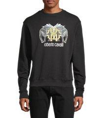 roberto cavalli men's graphic logo sweatshirt - black - size xxl