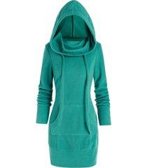 fleece kangaroo pocket mini hoodie dress
