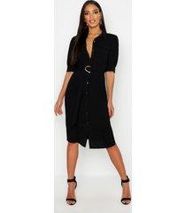 midi utility blouse jurk met pofmouwen, zwart