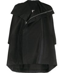 rick owens zip-up oversized cape - black