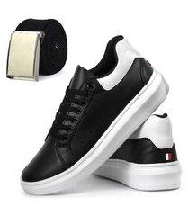 combo sapatênis casual mesma batida super novidade branco e preto com cinto