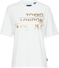 brand language city box fit tee t-shirts & tops short-sleeved vit superdry