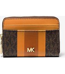 mk portafoglio piccolo a righe con logo - cider multi - michael kors