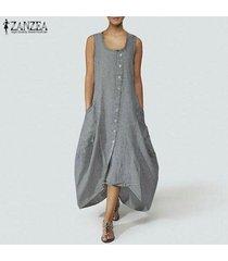 zanzea mujer verano sin mangas botones abajo playa suelta kaftan camisa vestido plus -gris claro