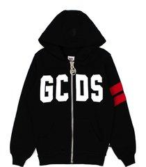 gcds black cotton zipped logo hoodie