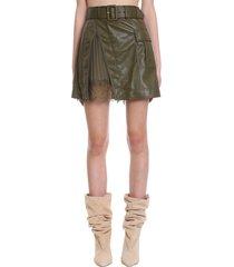 self-portrait skirt in green faux leather