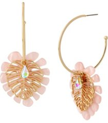 betsey johnson leaf charm convertible hoop earrings