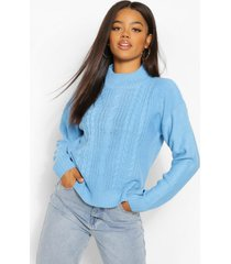 cable knit high neck sweater, bright blue